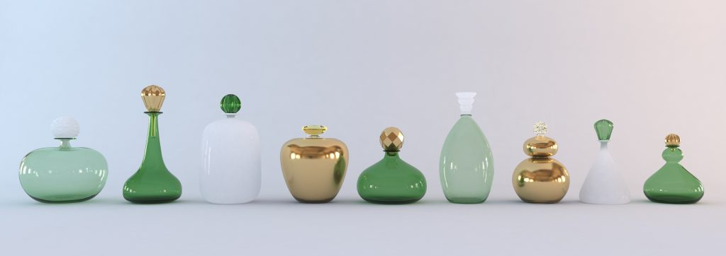 Gold, green and white bottles