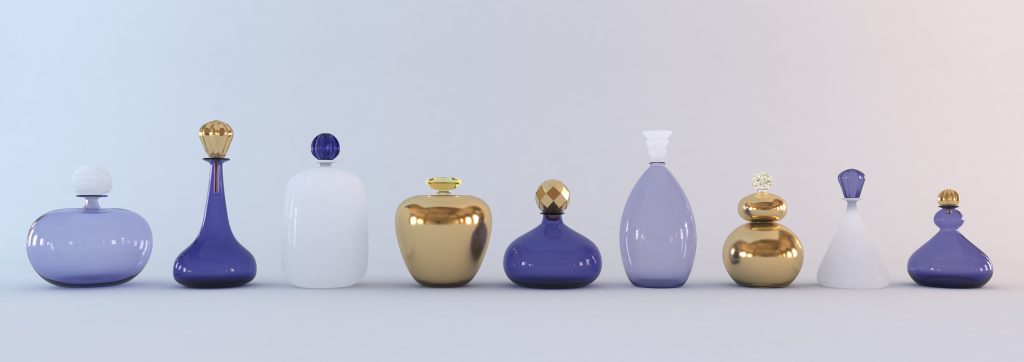 Gold, blue and white bottles