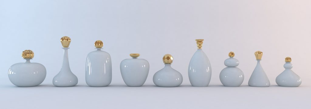 Opaline and gold bottles