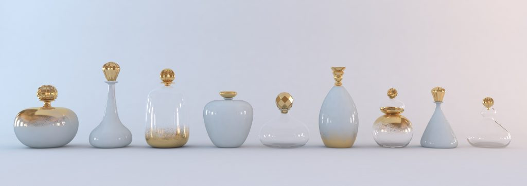 Transparent, opaline and gold bottles